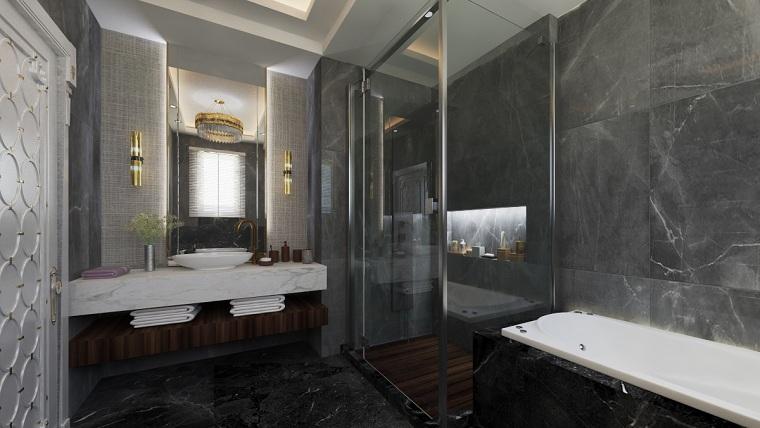 salle de bain-baignoire-douche-elements-moderne