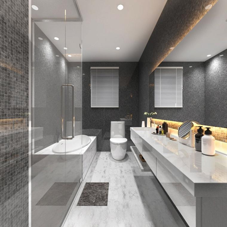 salle de bain-étroit-long-douche-baignoire-idées