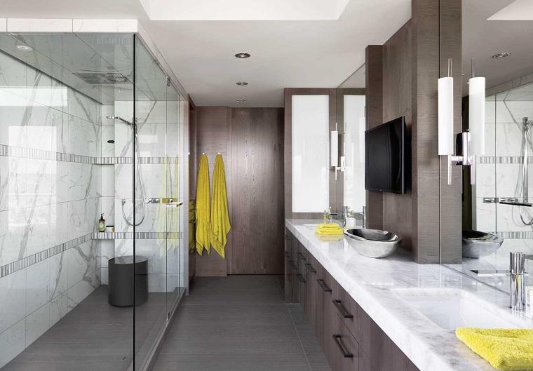 salles de bains modernes-design-douche-deux lavabos