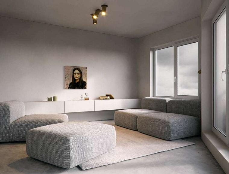 salon moderne avec un design minimaliste