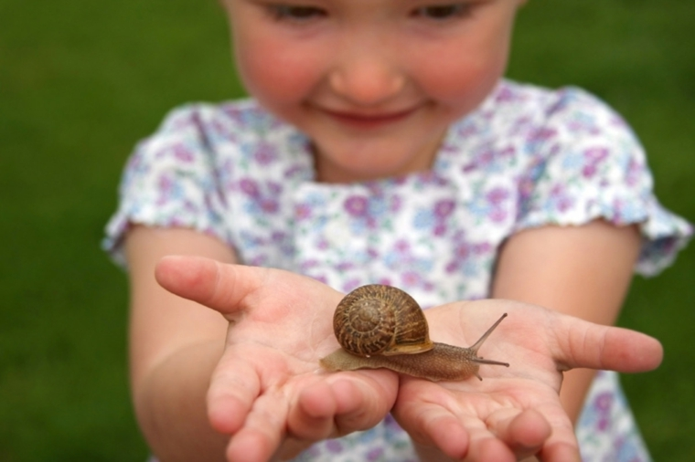 enfant avec escargot