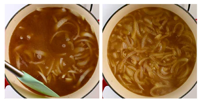 Préparation de soupe à loignon