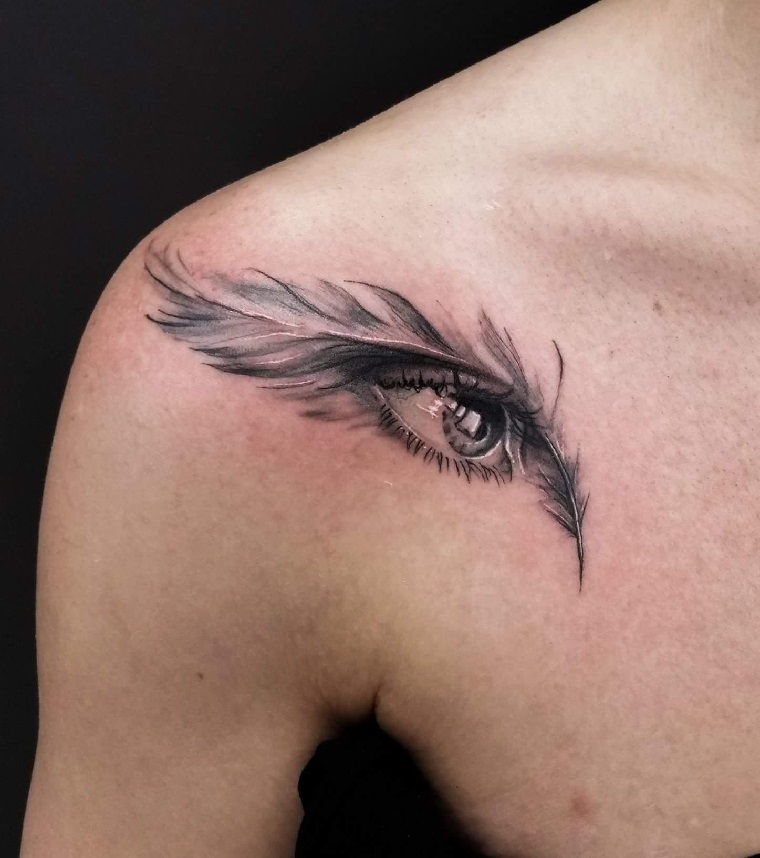 tatouages-de-plumes-oeil-idées-origianles