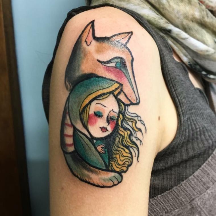 fille-renard-tatouage-épaule-conception