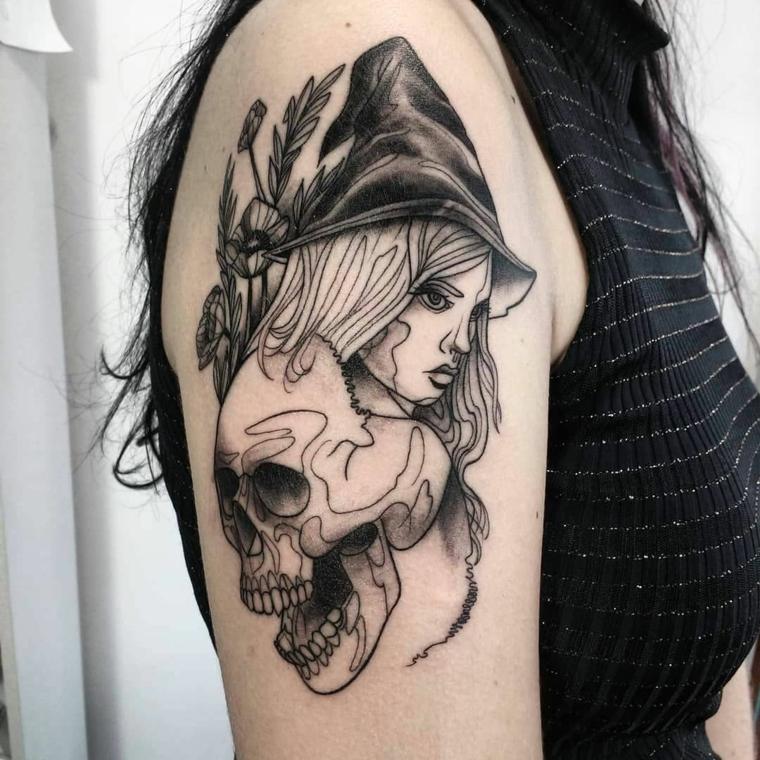 tatouage-épaule-options-sorcière-crâne