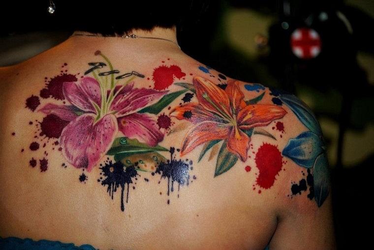tatouages pour lépaule-aquarelle-fleurs