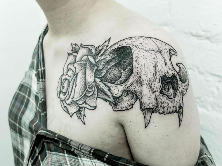 tatouages pour lépaule-crâne-animal