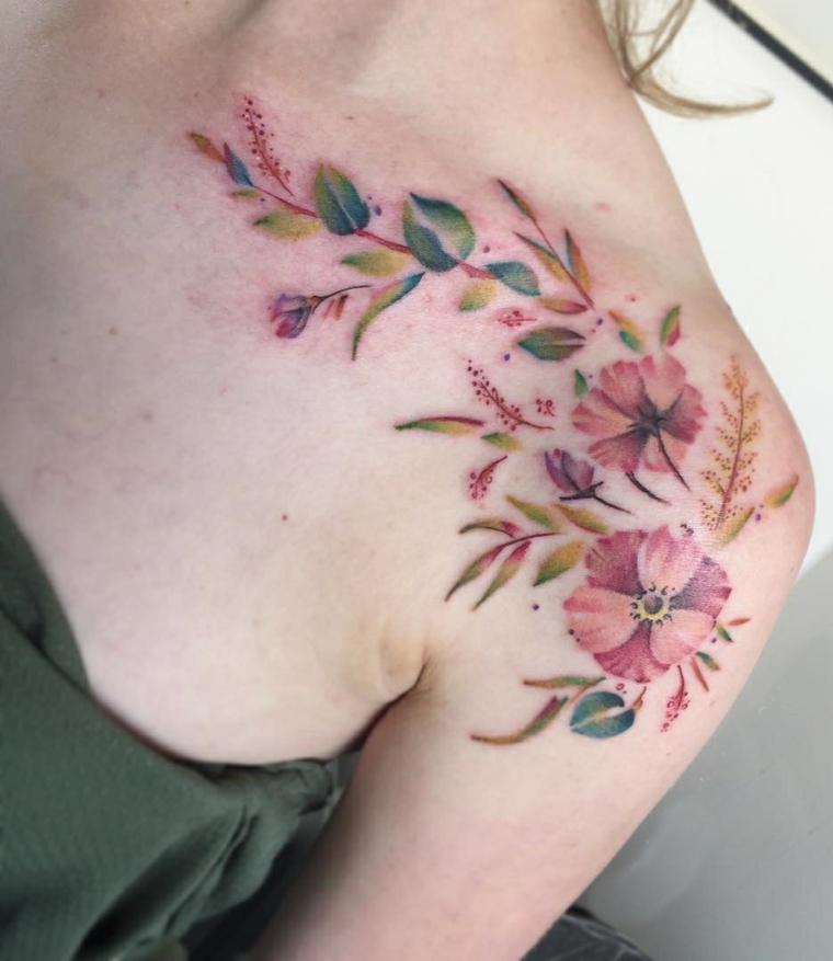 tatouages pour les fleurs à lépaule