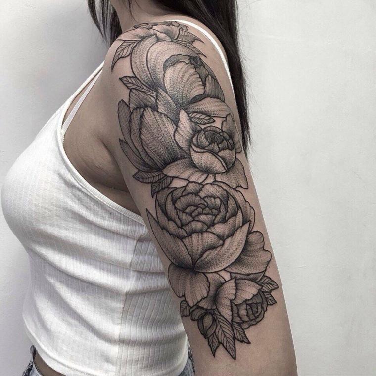 tatouages pour lépaule-fleurs-large