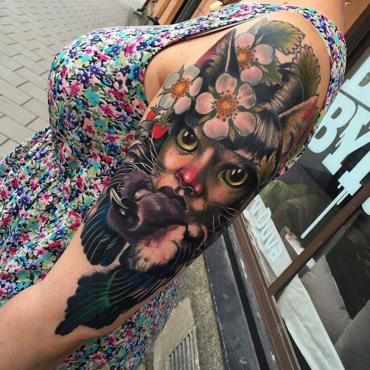tatouages pour les fleurs dépaule-chat