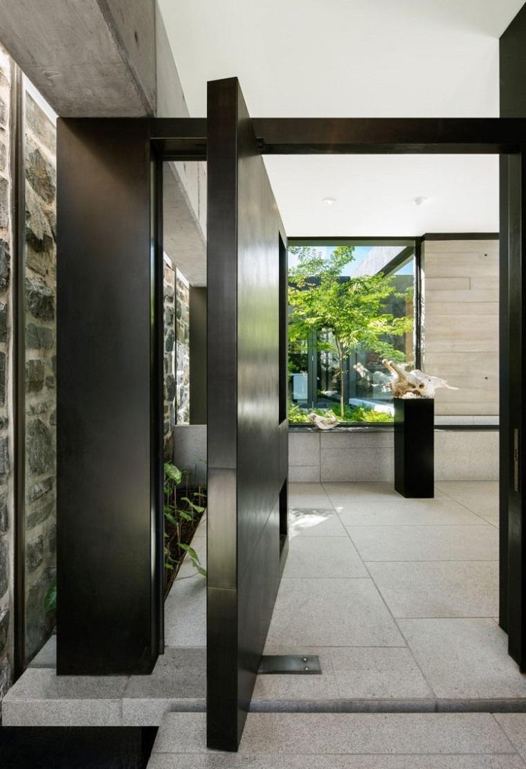 plafond de verre portes pivotantes
