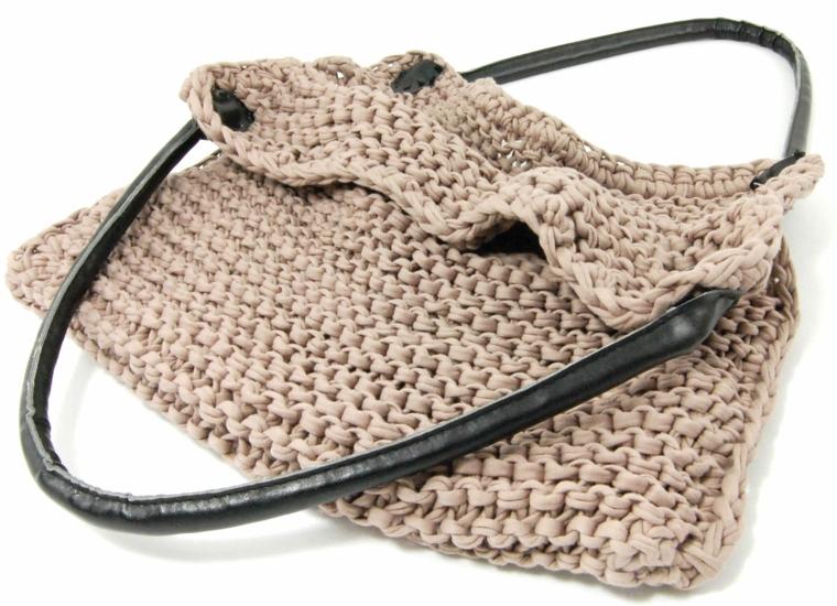 sac en tricot rose