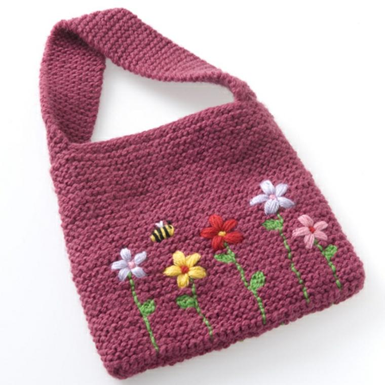 sacs tricotés avec des motifs