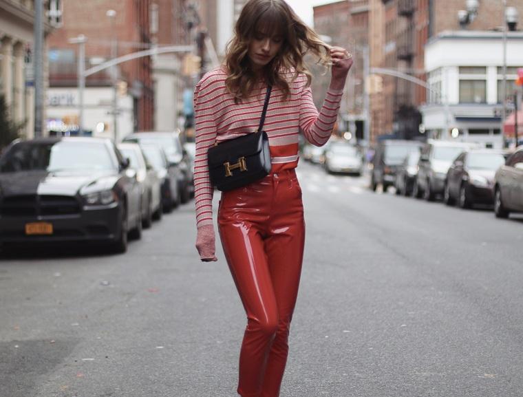 vêtements-de-mode-2018-pantalons-vinyle-rouge