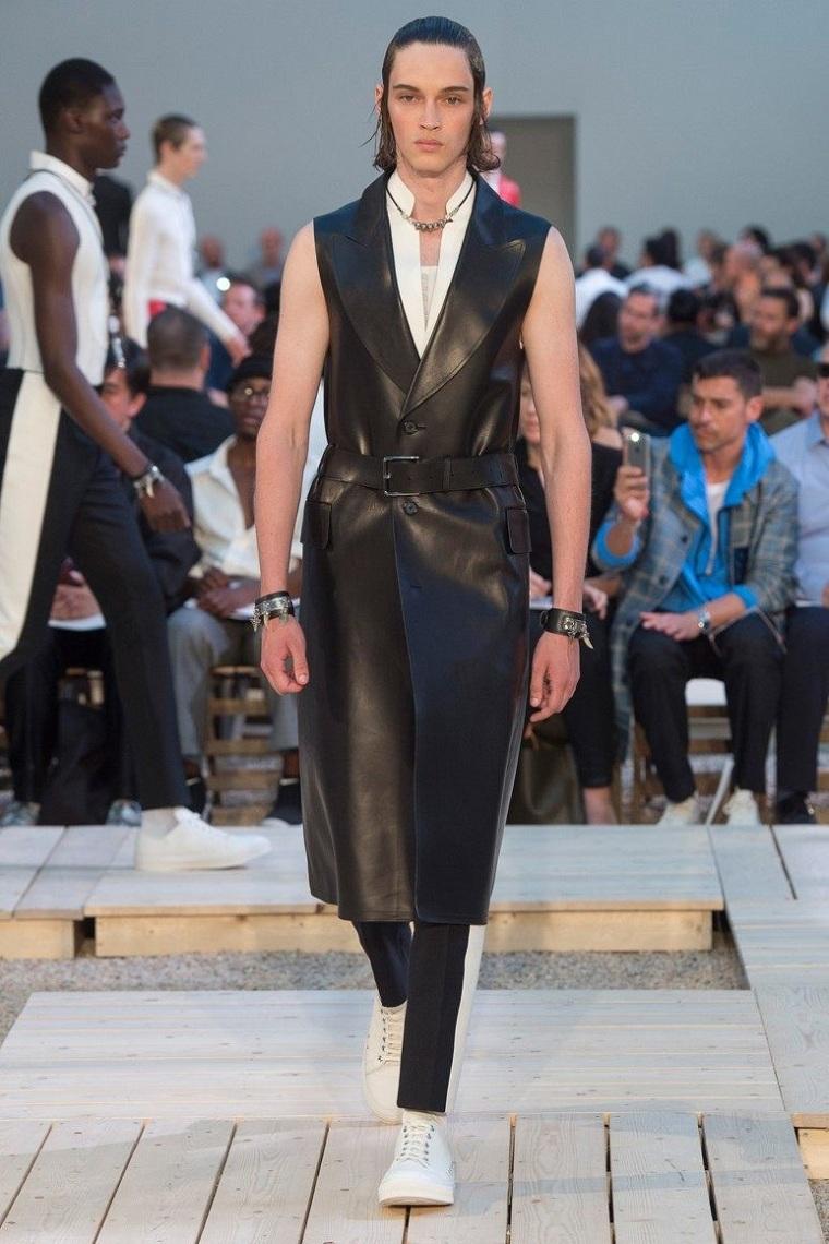 vêtements de mode pour menchaleco-largo-cuero